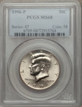 Kennedy Half Dollars: , 1996-P 50C MS68 PCGS. PCGS Population (51/0). NGC Census: (10/0).Mintage: 24,442,000. Numismedia Wsl. Price for problem fr...
