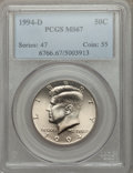 Kennedy Half Dollars: , 1994-D 50C MS67 PCGS. PCGS Population (55/1). NGC Census: (29/4).Mintage: 23,828,110. Numismedia Wsl. Price for problem fr...