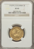 Colombia, Colombia: Charles III gold 2 Escudos 1762 Pn-J XF45 NGC,...