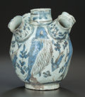 Asian:Other, A PERSIAN FRITWARE POTTERY WATERPIPE BASE, 19th century,. 9-1/2inches high (24.1 cm). PROPERTY FROM THE ESTATE OF MILDRED...