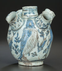 A PERSIAN FRITWARE POTTERY WATERPIPE BASE, 19th century, 9-1/2 inches high (24.1 cm)  PROPERTY FROM THE ESTA