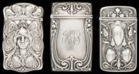 THREE GORHAM SILVER MATCH SAFES, Providence, Rhode Island, circa 1900 Marks to all: (lion-anchor-G), STERLING