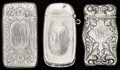 Silver Smalls:Match Safes, THREE GORHAM MATCH SAFES, Providence, Rhode Island, circa1899-1907. Marks to all: (lion-anchor-G), STERLING, (datemark... (Total: 3 Items)