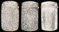 Silver Smalls:Match Safes, THREE BATTIN SILVER, SILVER GILT AND HARDSTONE MATCH SAFES, Newark,New Jersey, circa 1907. Marks to all: (trident), STERL...(Total: 3 Items)
