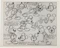 animation art:Model Sheet, Mickey Mouse and Minnie Mouse Animation Model Sheet Group (WaltDisney, 1930).... (Total: 8 Original Art)