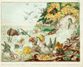 """Books:Prints & Leaves, James Gillray (artist, 1756-1815). Original Hand-Colored Etching, """"A Great Stream from a Petty Fountain; or, John Bull Swamped..."""