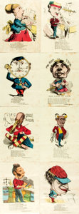 Books:Prints & Leaves, [Caricature]. Group of Eight Color Lithograph Caricatures Depicting Various Professions. New York: McLoughlin Bros., [n.d., ...