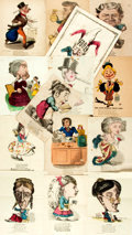 Books:Prints & Leaves, [Caricature]. Group of Fourteen Color Lithograph Caricatures Depicting Various Professions and Characteristics. Various publ...