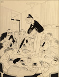 """Paintings, AL HIRSCHFELD (American, 1903-2003). """"While Harpo Marx Offered Golf Lesson with Umbrella and Matzoth Ball, Other Round Tab... (Total: 2 Items)"""