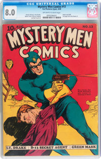Mystery Men Comics #13 (Fox, 1940) CGC VF 8.0 Off-white to white pages