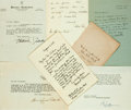 Autographs:Authors, American Novelists, Authors. Group of Autographs and Typed or HandWritten Letters Signed. Includes Katherine Pinkerton, Sew...