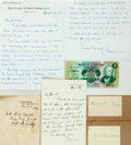 Autographs:Statesmen, American and British Politicians. Group of Autographs and HandWritten Letters Signed. Includes H.D. Gilpin, Justin McCarthy...