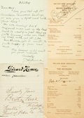 Autographs:Celebrities, Musicians, Composers and Stage Performers. Group of Autographs, Programs and Hand Written Letters Signed. Includes Bertha Fi...
