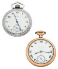 Timepieces:Pendant , Elgin & South Bend 16 Size Open Face Pocket Watches Runners.... (Total: 2 Items)