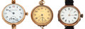 Timepieces:Wristwatch, Three Pocket Wristwatches. ... (Total: 3 Items)