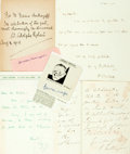 Autographs:Authors, Journalists. Group of Autograph and Hand Written Letters Signed. Includes W. Adolphe Roberts, John Gunther, Dorothy Thompson...
