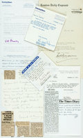 Autographs:Authors, Journalists. Group of Autograph and Typed Letters Signed. Includes Horace White, Cecil King, Val Hennessy et al. Various dat...