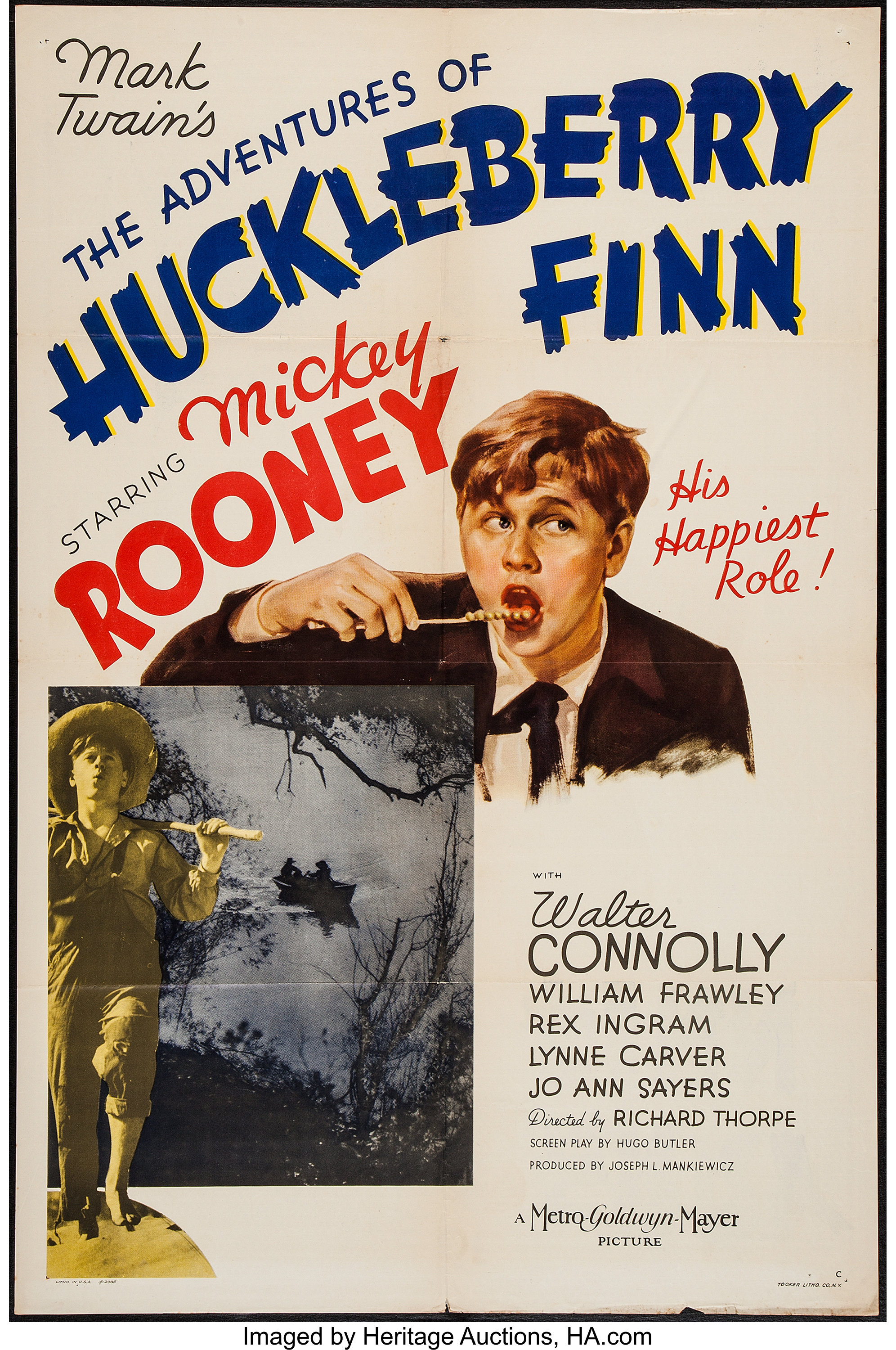 """The Adventures of Huckleberry Finn (MGM, 1939). One Sheet (27"""" X 