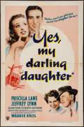 """Movie Posters:Comedy, Yes, My Darling Daughter (Warner Brothers, 1939). One Sheet (27"""" X41""""). Comedy.. ..."""
