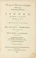 Books:Americana & American History, Thomas Baldwin. The Approved Workman in the Gospel Ministry. ASermon, Delivered at Templeton, October 16, 1800, at the ...