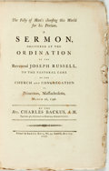 Books:Americana & American History, Charles Backus. The Folly of Man's Choosing This World for HisPortion. A Sermon, Delivered at the Ordination of the Rev...