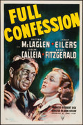 """Movie Posters:Crime, Full Confession (RKO, 1939). One Sheet (27"""" X 41""""). Crime.. ..."""