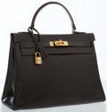 Luxury Accessories:Bags, Hermes 28cm Marron Fonce Calf Box Leather Retourne Kelly Bag withGold Hardware. ...