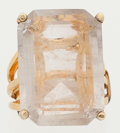 Estate Jewelry:Rings, Quartz, Gold-Plated Ring. ...