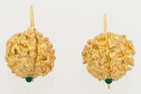 Green Glass, Gold-Plated Earrings