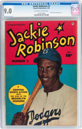 Golden Age (1938-1955):Non-Fiction, Jackie Robinson #2 (Fawcett Publications, 1950) CGC VF/NM 9.0Off-white to white pages....