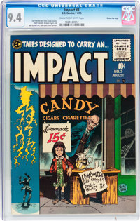 Impact #3 Gaines File pedigree 5/12 (EC, 1955) CGC NM 9.4 Cream to off-white pages