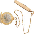 """Hockey Collectibles:Others, 1980 Mark Pavelich """"Miracle on Ice"""" Gold Medalist Presentational Pocket Watch & Chain. ..."""
