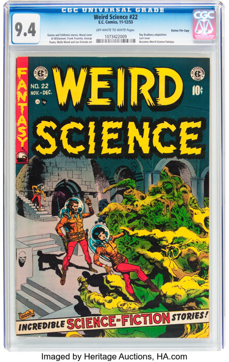 Weird Science #22 Gaines File pedigree (EC, 1953) CGC NM 9.4 Off-white to white pages....