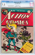 Golden Age (1938-1955):Superhero, Action Comics #78 (DC, 1944) CGC VF- 7.5 Off-white to white pages....
