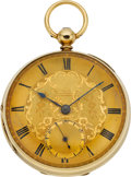 Timepieces:Pocket (pre 1900) , Swiss Heavy 18k Gold Lever Fusee, circa 1860's. ...