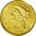 Liberty Half Eagles: , 1860-S $5 AU53 PCGS. This is an extremely important offering, with higher quality examples of this date seldom appearing fo...