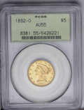 Liberty Half Eagles: , 1892-O $5 AU55 PCGS. A mere 10,000 half eagles were struck at NewOrleans in 1892, the first production of the denomination...