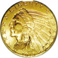 Indian Half Eagles: , 1913 $5 MS64 PCGS. One of the more available P-mints from the fivedollar Indian series, the 1913 is also an excellent choi...