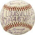 Autographs:Baseballs, 1946 Louisville Colonels Team Signed Baseball. A total oftwenty-six autographs have been penned on the glorious mementosi...