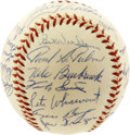 Autographs:Baseballs, 1955 St. Louis Cardinals Team Signed Baseball. The talent-laden 1955 St. Louis Cardinals appear here in the form of 27 exc...