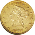 Liberty Eagles: , 1849-O $10 AU55 NGC. A very scarce issue as well as one of thepremier condition rarities in the No Motto series of eagles....