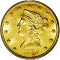 Liberty Eagles: , 1855 $10 MS62 PCGS. No Motto eagles are readily obtained incirculated grades, but pieces with full mint luster are rare, a...