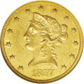 Liberty Eagles: , 1857-O $10 AU55 NGC. The 1857-O ten dollar, with a mintage of 5,500pieces, is scarce in all circulated grades, and is virt...
