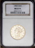 Liberty Eagles: , 1902-S $10 MS63 Prooflike NGC. Bright apricot-gold surfaces displaysharply impressed design elements, and pleasing field t...