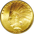 Indian Eagles: , 1913-S $10 MS64 PCGS. There are few 20th century gold coins thatare as rare as this date, especially when the higher grade...
