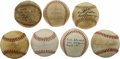 Autographs:Baseballs, 1920s-30s St. Louis Cardinals Single Signed Baseballs Lot of 7.Each of the players who have provided a vintage single here...