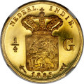 Netherlands East Indies, Netherlands East Indies: William III gold Proof 1/4 Gulden 1885PR66 Ultra Cameo NGC,...