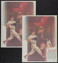 Baseball Collectibles:Others, Stan Musial Signed Oversized Prints Lot of 2....