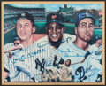 Baseball Collectibles:Photos, Mickey Mantle, Willie Mays and Duke Snider Signed Plaque....