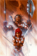 Original Comic Art:Covers, Jim Lee and Gabriele Dell'Otto Red Sonja/Claw: The Devil'sHands #2 Cover Painting Original Art (DC/Dynamite Enter...